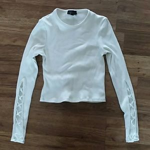Topshop white long sleeve ribbed crop top xs